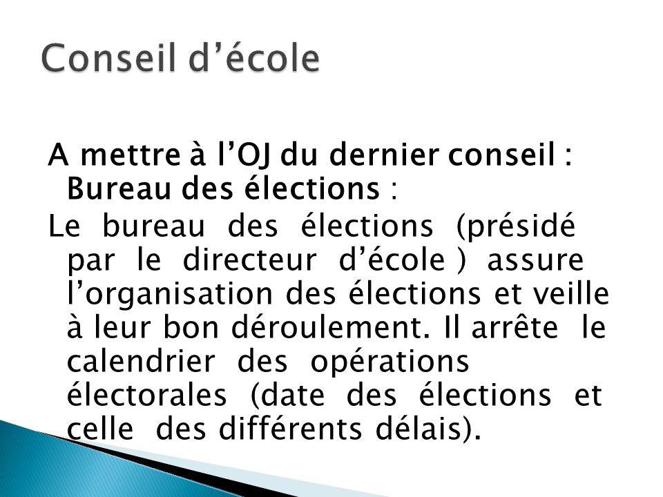 A mettre à lOJ du dernier conseil : Bureau des élections : Le bureau des élections (présidé par le directeur décole ) assure lorganisation des électio