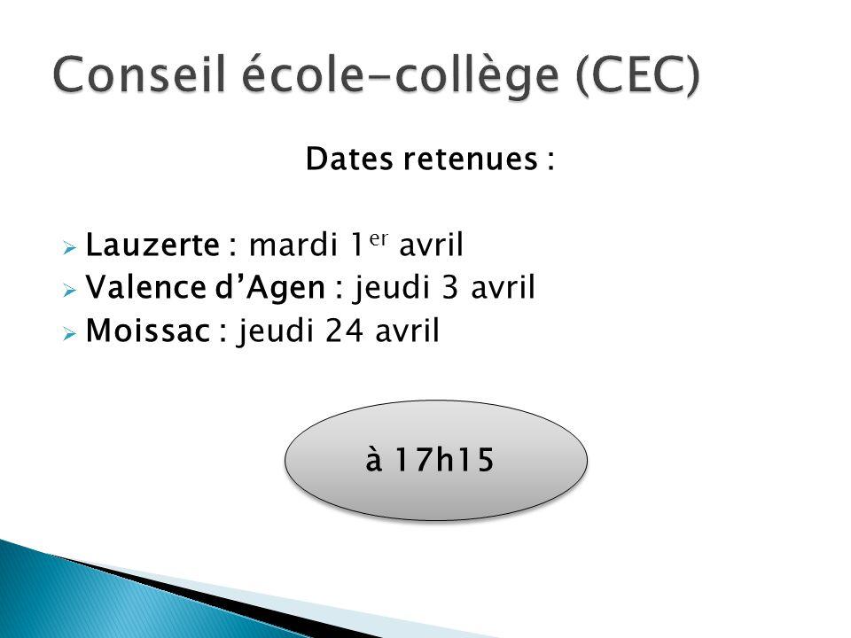 Dates retenues : Lauzerte : mardi 1 er avril Valence dAgen : jeudi 3 avril Moissac : jeudi 24 avril à 17h15