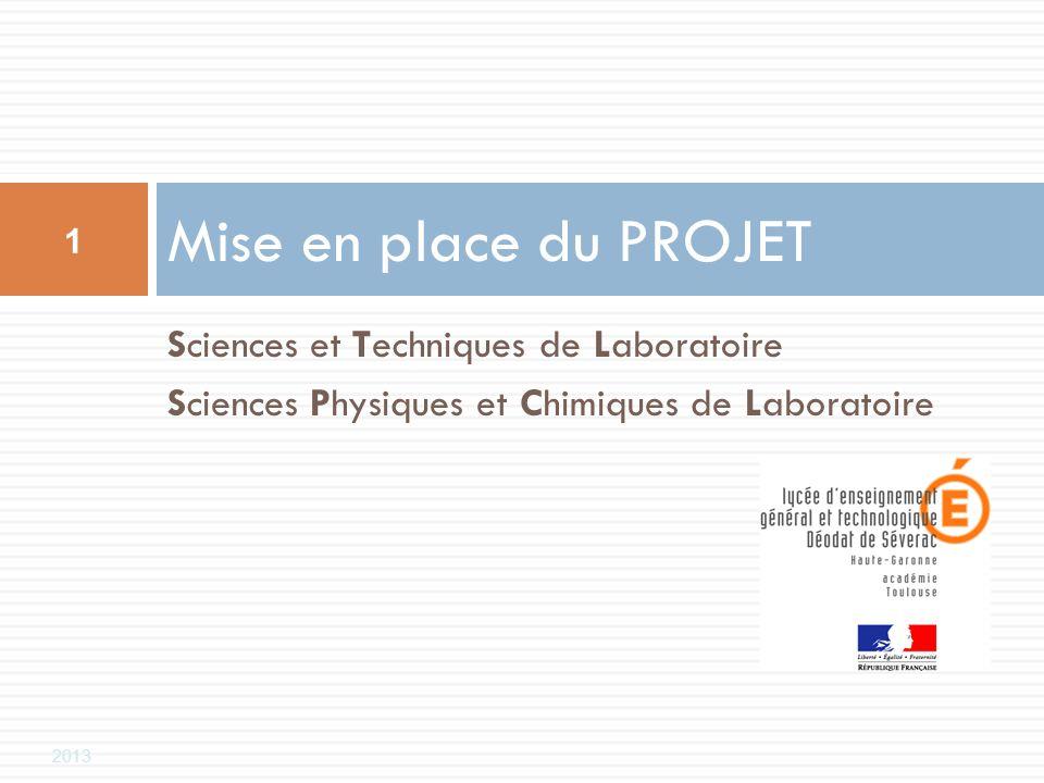 2013 Sciences et Techniques de Laboratoire Sciences Physiques et Chimiques de Laboratoire Mise en place du PROJET 1