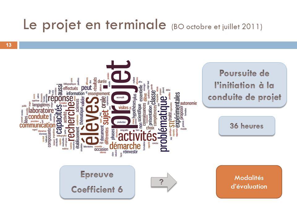 Le projet en terminale (BO octobre et juillet 2011) 13 Modalités dévaluation