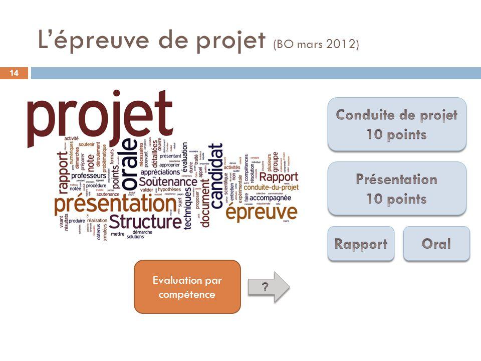 Lépreuve de projet (BO mars 2012) Evaluation par compétence 14