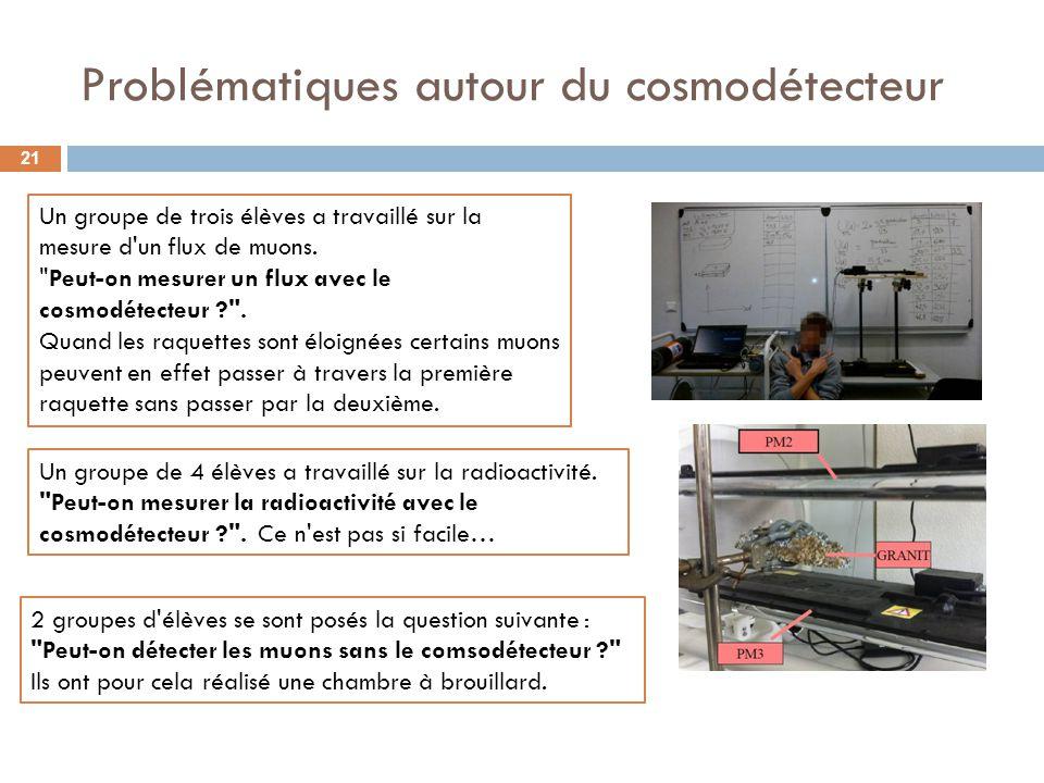 Problématiques autour du cosmodétecteur 21 Un groupe de trois élèves a travaillé sur la mesure d'un flux de muons.