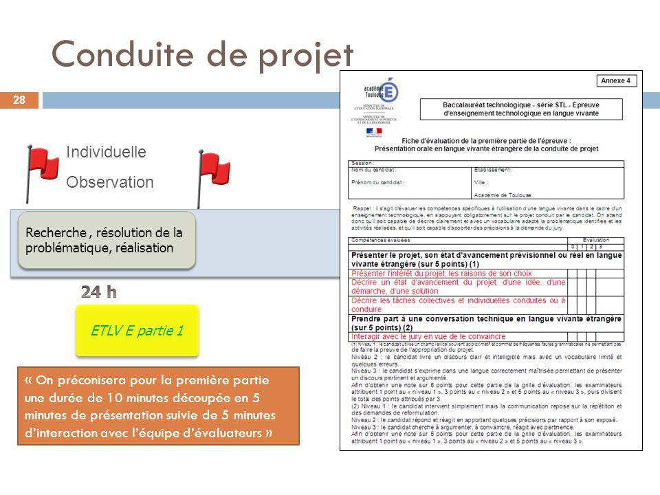 Conduite de projet Recherche, résolution de la problématique, réalisation Individuelle Observation ETLV E partie 1 « On préconisera pour la première p