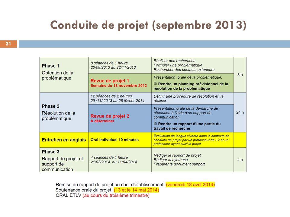 Conduite de projet (septembre 2013) 31