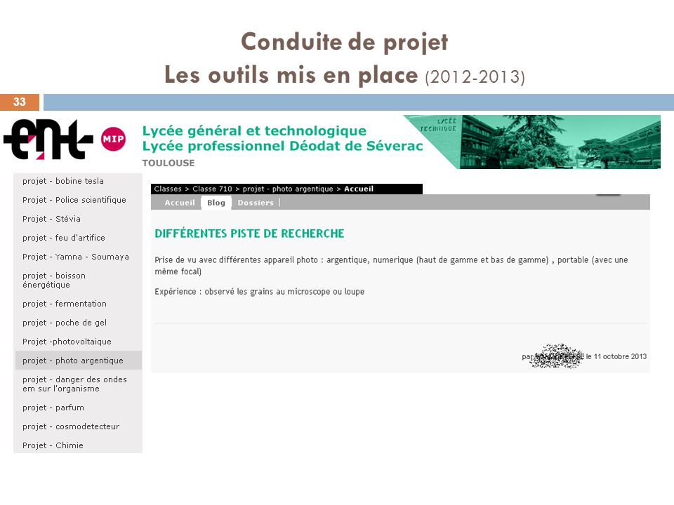 Conduite de projet Les outils mis en place (2012-2013) 33