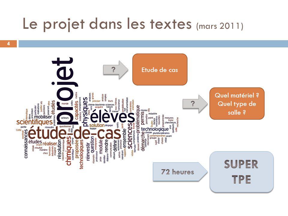 Le projet dans les textes (mars 2011) Etude de cas Quel matériel ? Quel type de salle ? 4