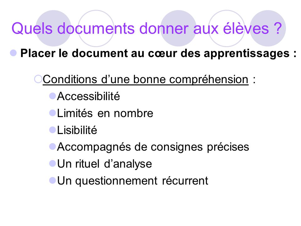 Quels documents donner aux élèves ? Conditions dune bonne compréhension : Accessibilité Limités en nombre Lisibilité Accompagnés de consignes précises