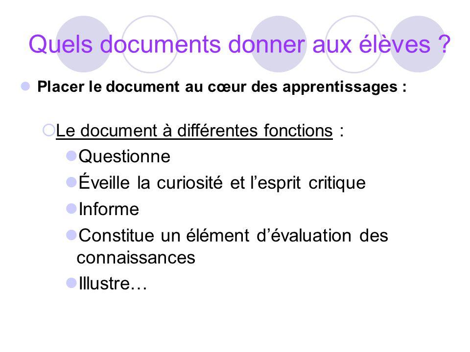 Quels documents donner aux élèves ? Placer le document au cœur des apprentissages : Le document à différentes fonctions : Questionne Éveille la curios