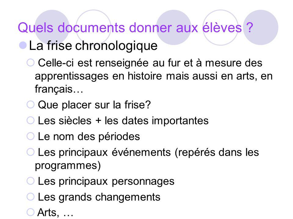 Quels documents donner aux élèves ? La frise chronologique Celle-ci est renseignée au fur et à mesure des apprentissages en histoire mais aussi en art