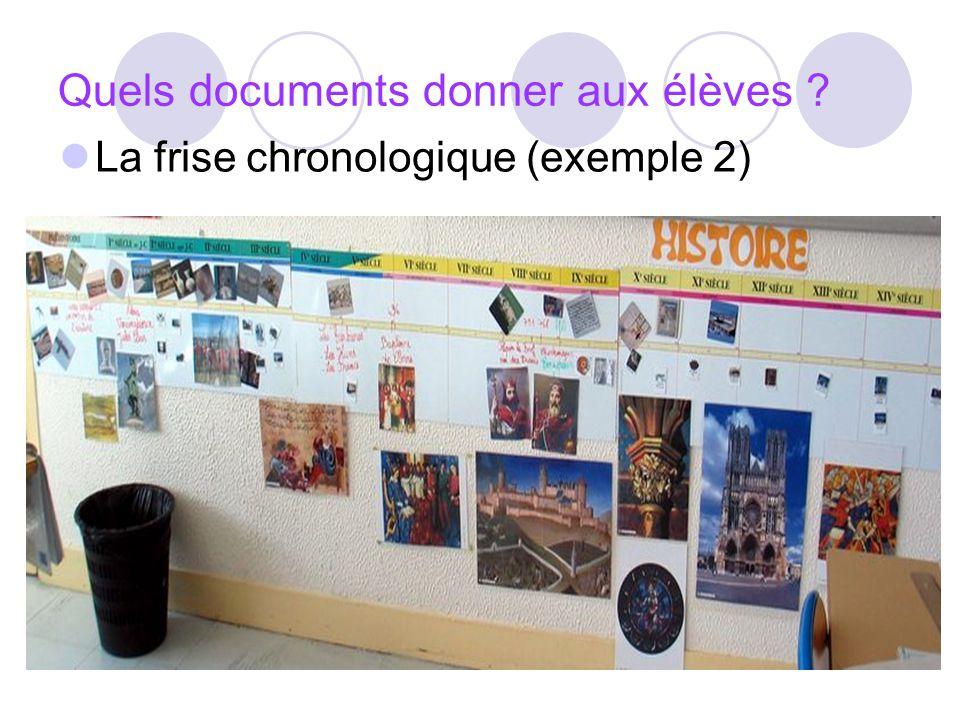 Quels documents donner aux élèves ? La frise chronologique (exemple 2)