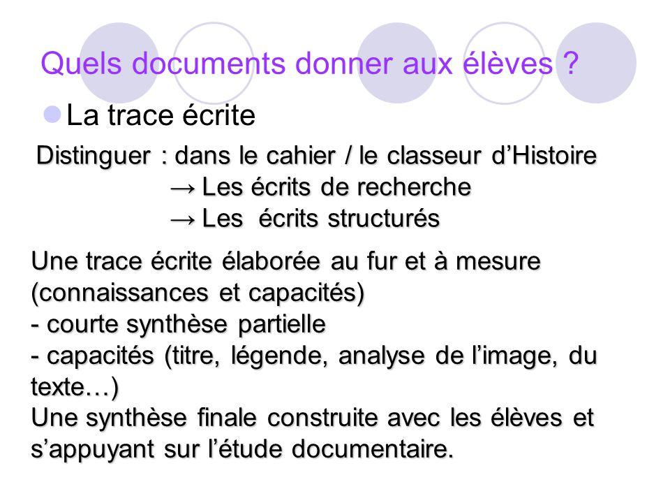 Quels documents donner aux élèves ? La trace écrite Distinguer : dans le cahier / le classeur dHistoire Les écrits de recherche Les écrits de recherch