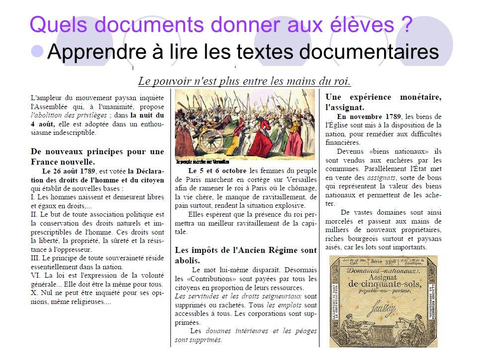 Quels documents donner aux élèves ? Apprendre à lire les textes documentaires