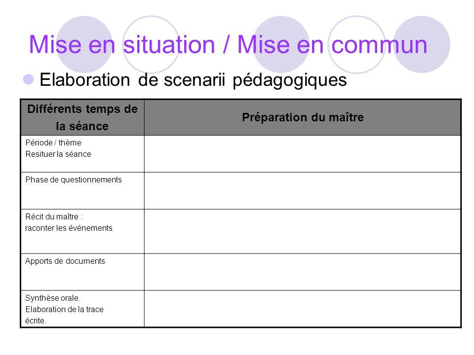Mise en situation / Mise en commun Elaboration de scenarii pédagogiques Différents temps de la séance Préparation du maître Période / thème Resituer l