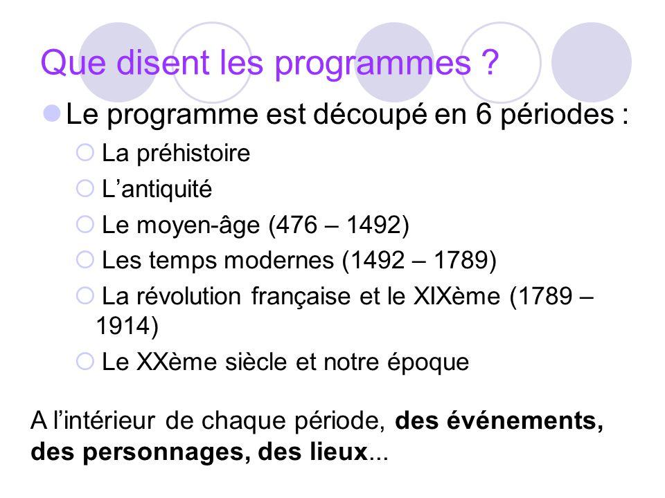 Que disent les programmes ? Le programme est découpé en 6 périodes : La préhistoire Lantiquité Le moyen-âge (476 – 1492) Les temps modernes (1492 – 17