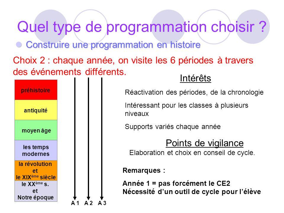 Quel type de programmation choisir ? Construire une programmation en histoire Construire une programmation en histoire Choix 2 : chaque année, on visi