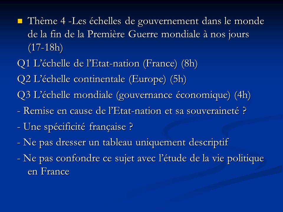 Thème 4 -Les échelles de gouvernement dans le monde de la fin de la Première Guerre mondiale à nos jours (17-18h) Thème 4 -Les échelles de gouvernemen