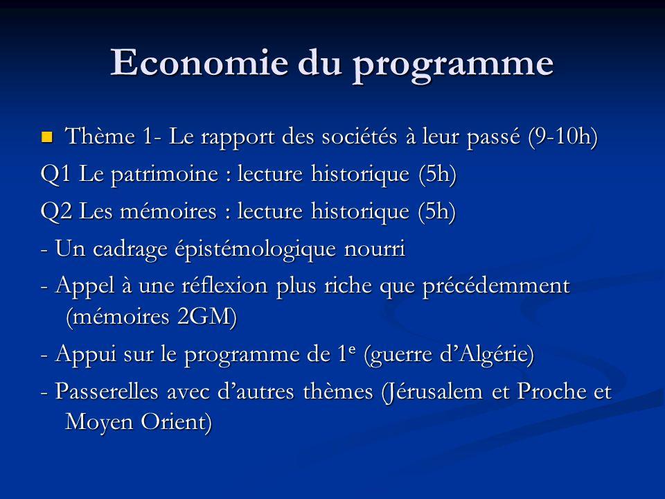 Economie du programme Thème 1- Le rapport des sociétés à leur passé (9-10h) Thème 1- Le rapport des sociétés à leur passé (9-10h) Q1 Le patrimoine : l