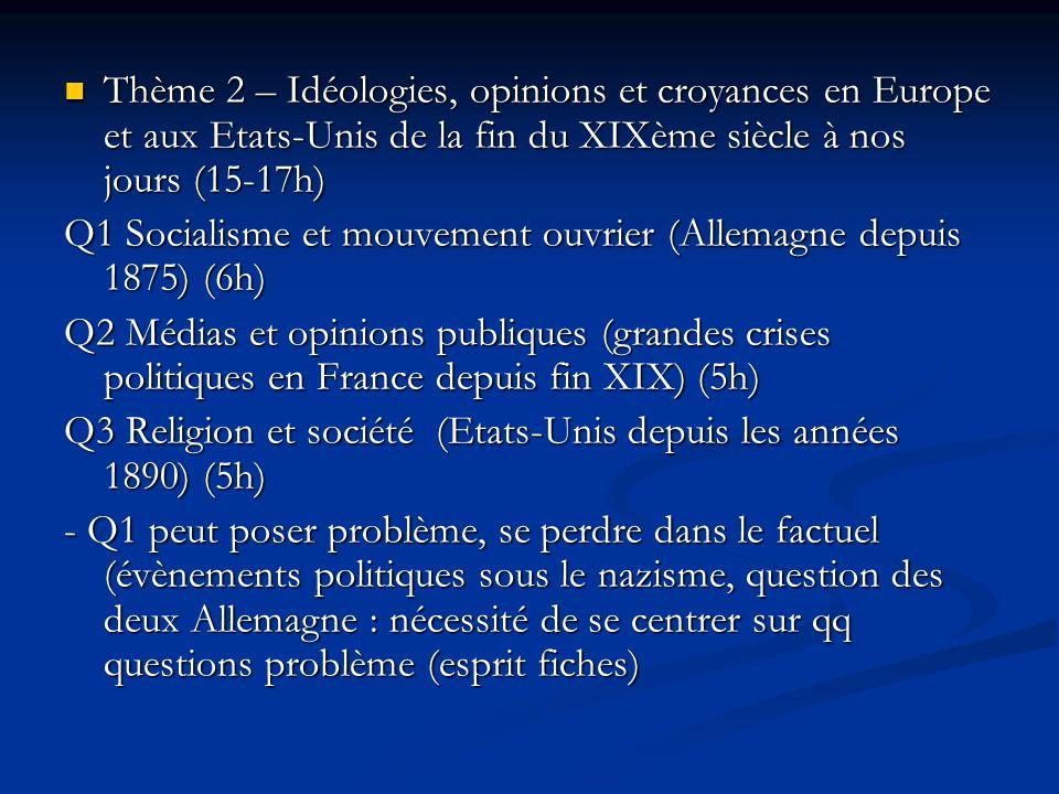 Thème 2 – Idéologies, opinions et croyances en Europe et aux Etats-Unis de la fin du XIXème siècle à nos jours (15-17h) Thème 2 – Idéologies, opinions