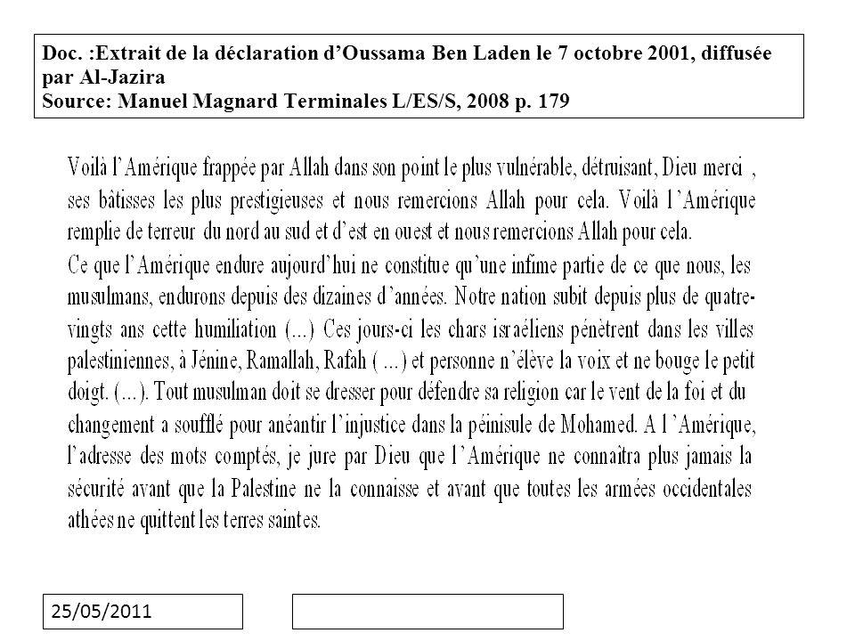 25/05/2011 Doc: extrait de la résolution 1368 (2001) adoptée par le Conseil de sécurité de l ONU, le 12 septembre 2001