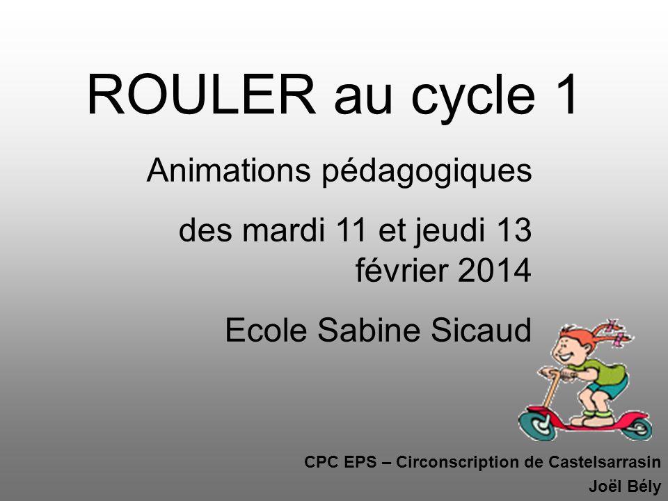 CPC EPS – Circonscription de Castelsarrasin Joël Bély ROULER au cycle 1 Animations pédagogiques des mardi 11 et jeudi 13 février 2014 Ecole Sabine Sic