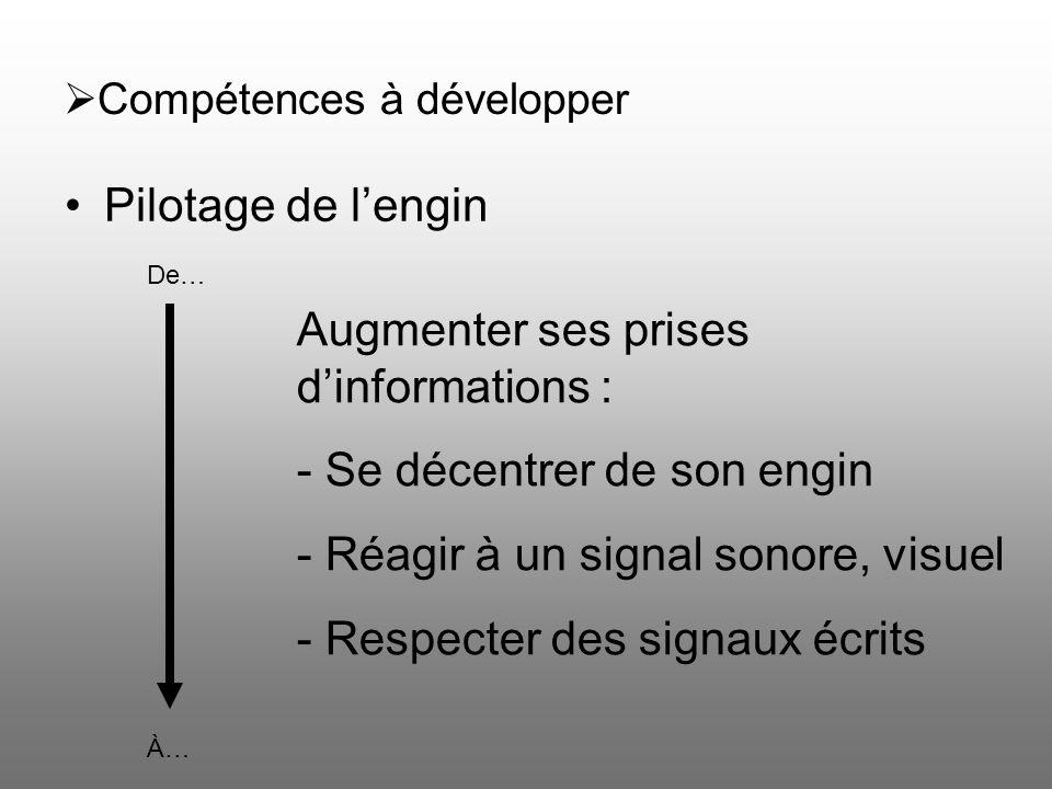 Compétences à développer Pilotage de lengin De… À… Augmenter ses prises dinformations : - Se décentrer de son engin - Réagir à un signal sonore, visue