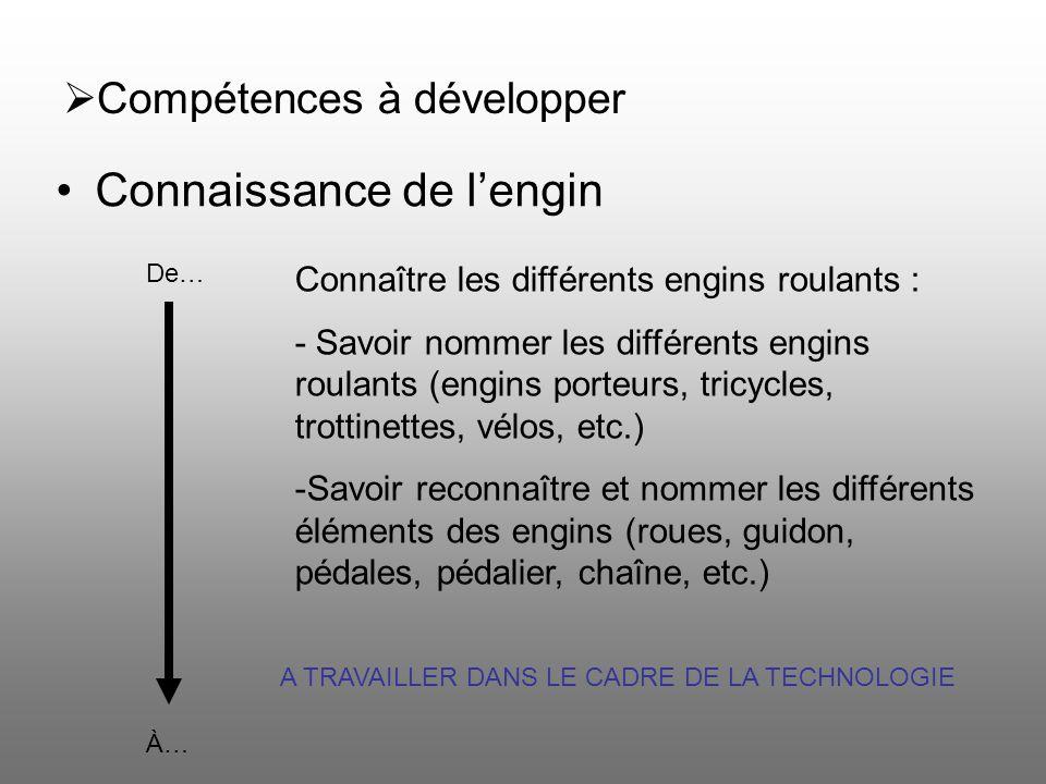 Compétences à développer Connaissance de lengin De… À… Connaître les différents engins roulants : - Savoir nommer les différents engins roulants (engi