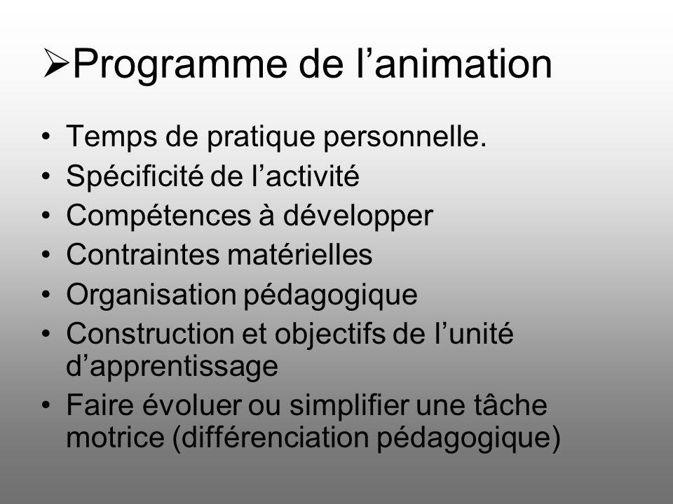 Programme de lanimation Temps de pratique personnelle. Spécificité de lactivité Compétences à développer Contraintes matérielles Organisation pédagogi