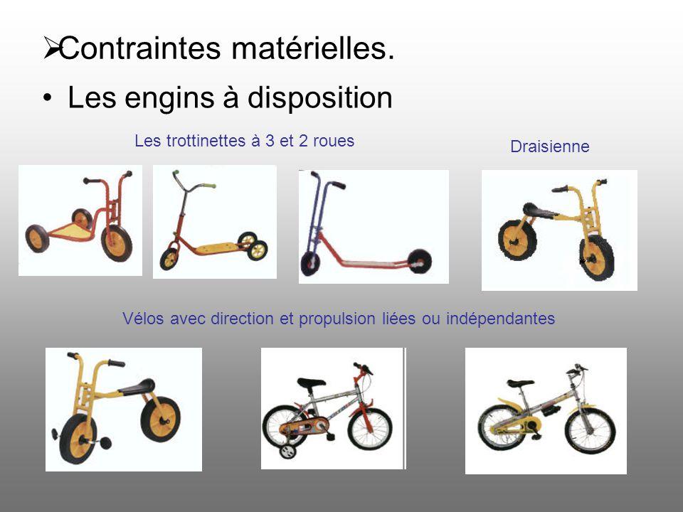 Contraintes matérielles. Les trottinettes à 3 et 2 roues Draisienne Vélos avec direction et propulsion liées ou indépendantes Les engins à disposition