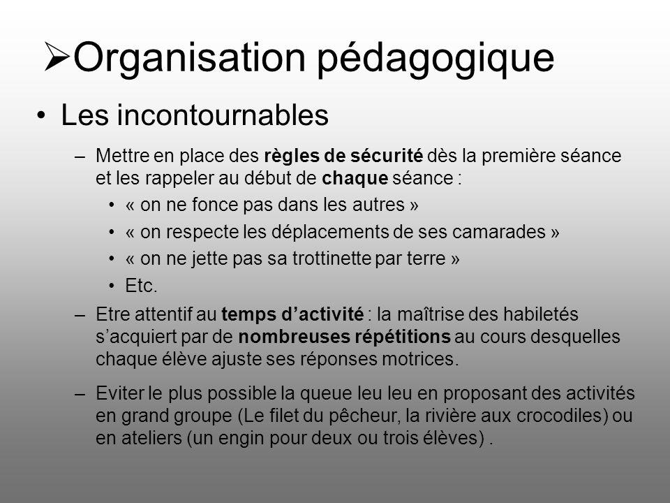 Organisation pédagogique Les incontournables –Mettre en place des règles de sécurité dès la première séance et les rappeler au début de chaque séance