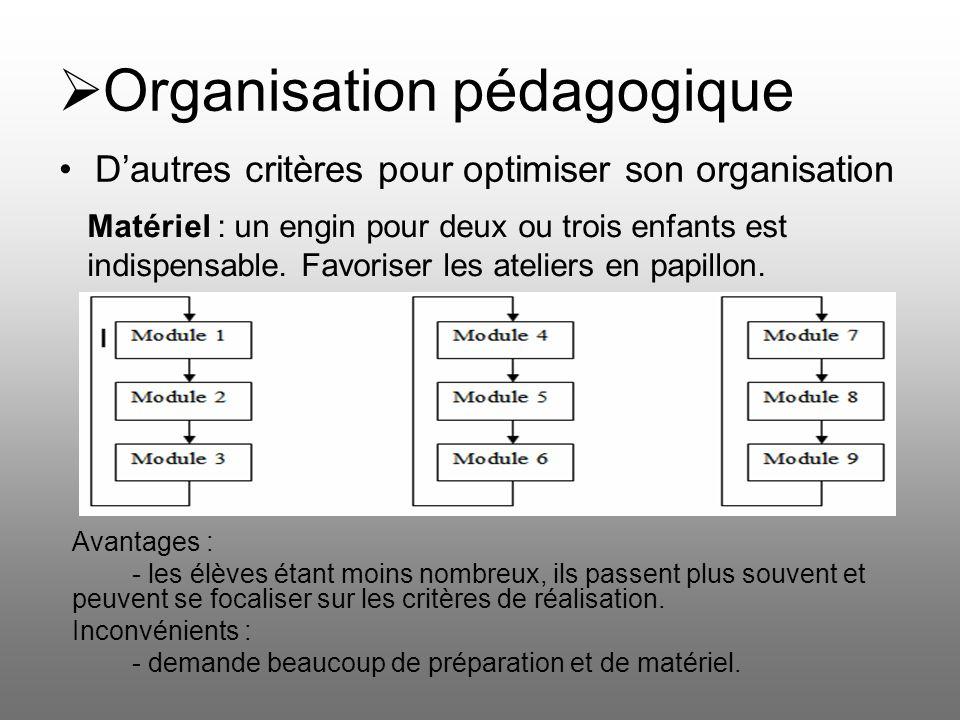 Organisation pédagogique Dautres critères pour optimiser son organisation Matériel : un engin pour deux ou trois enfants est indispensable. Favoriser