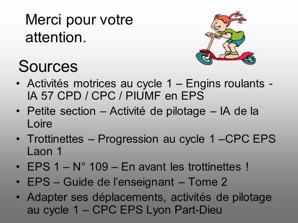 Sources Activités motrices au cycle 1 – Engins roulants - IA 57 CPD / CPC / PIUMF en EPS Petite section – Activité de pilotage – IA de la Loire Trotti