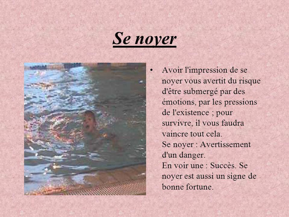 Se noyer Avoir l'impression de se noyer vous avertit du risque d'être submergé par des émotions, par les pressions de l'existence ; pour survivre, il