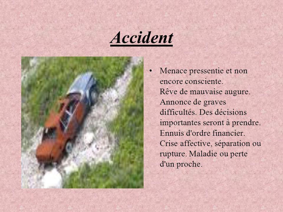 Accident Menace pressentie et non encore consciente. Rêve de mauvaise augure. Annonce de graves difficultés. Des décisions importantes seront à prendr