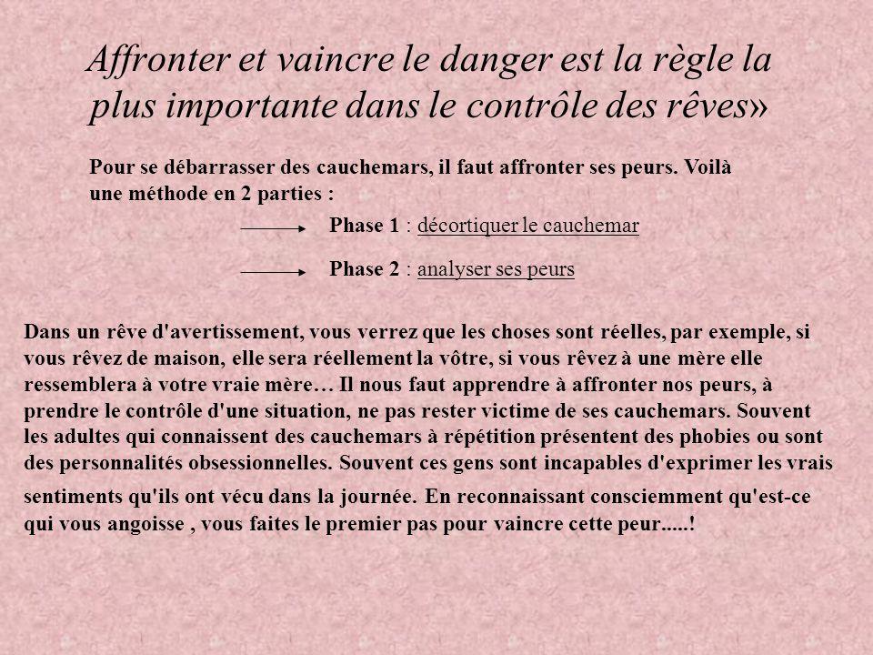 Affronter et vaincre le danger est la règle la plus importante dans le contrôle des rêves» Dans un rêve d'avertissement, vous verrez que les choses so