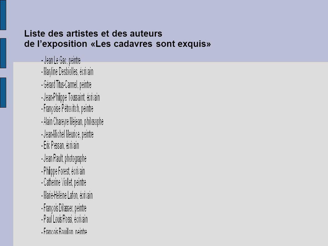Liste des artistes et des auteurs de lexposition «Les cadavres sont exquis»