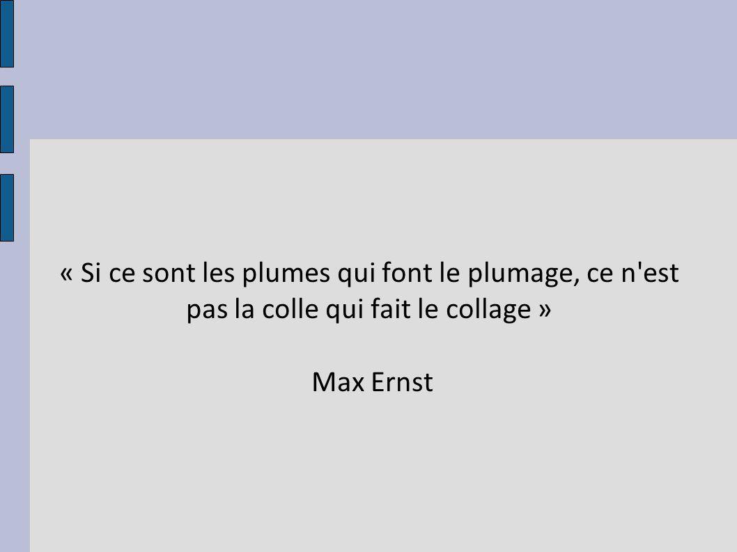 « Si ce sont les plumes qui font le plumage, ce n'est pas la colle qui fait le collage » Max Ernst