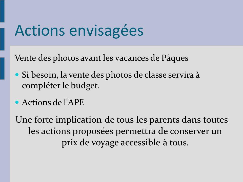 Actions envisagées Vente des photos avant les vacances de Pâques Si besoin, la vente des photos de classe servira à compléter le budget. Actions de l'