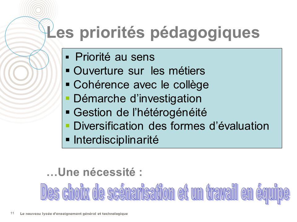 Le nouveau lycée denseignement général et technologique Les priorités pédagogiques …Une nécessité : 11 Priorité au sens Ouverture sur les métiers Cohé