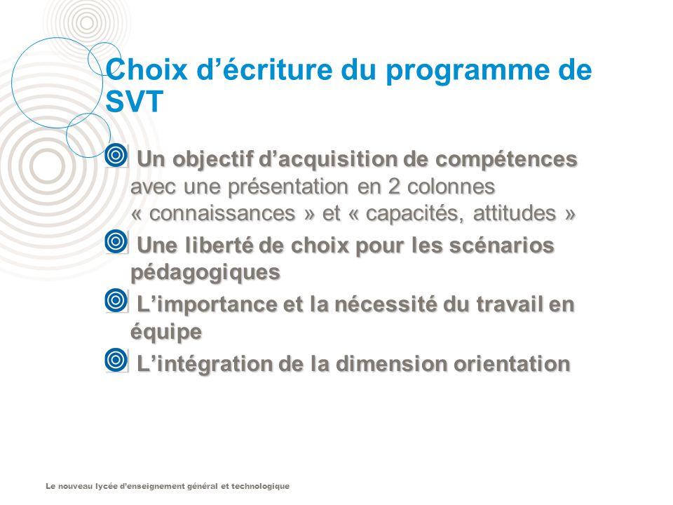 Le nouveau lycée denseignement général et technologique Choix décriture du programme de SVT Un objectif dacquisition de compétences avec une présentat