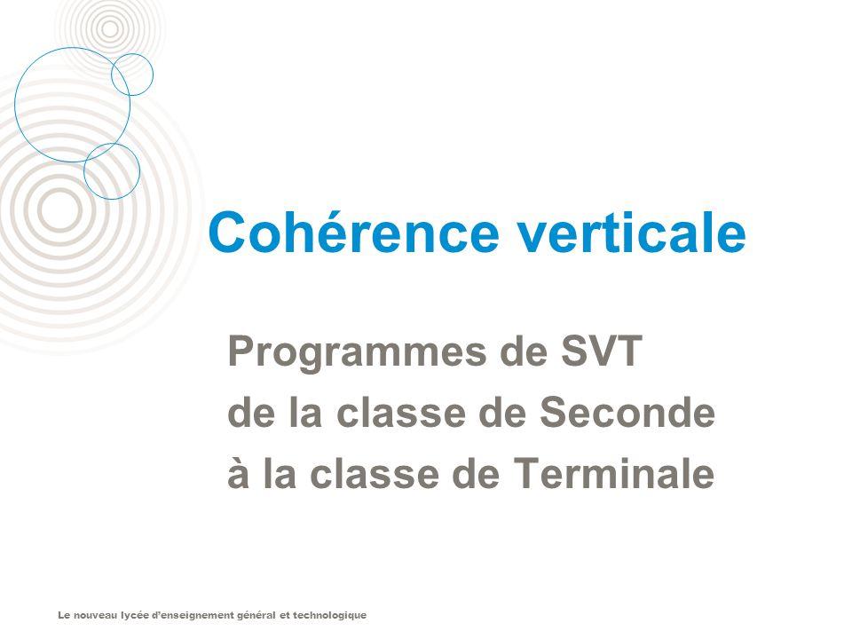 Le nouveau lycée denseignement général et technologique Cohérence verticale Programmes de SVT de la classe de Seconde à la classe de Terminale