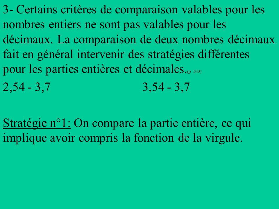 3- Certains critères de comparaison valables pour les nombres entiers ne sont pas valables pour les décimaux.