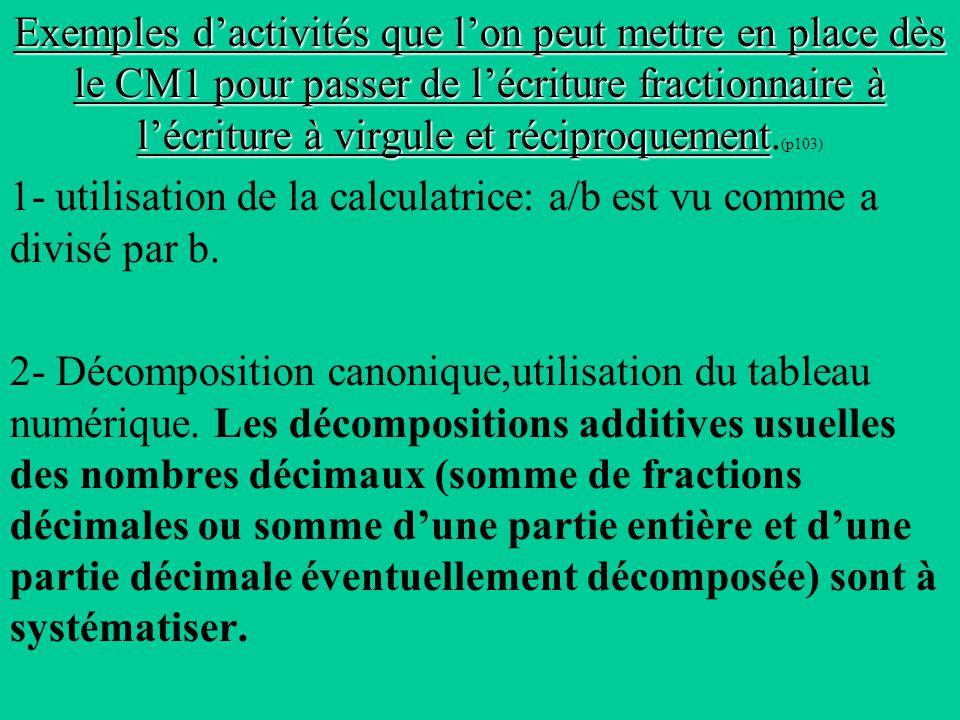Exemples dactivités que lon peut mettre en place dès le CM1 pour passer de lécriture fractionnaire à lécriture à virgule et réciproquement Exemples dactivités que lon peut mettre en place dès le CM1 pour passer de lécriture fractionnaire à lécriture à virgule et réciproquement.