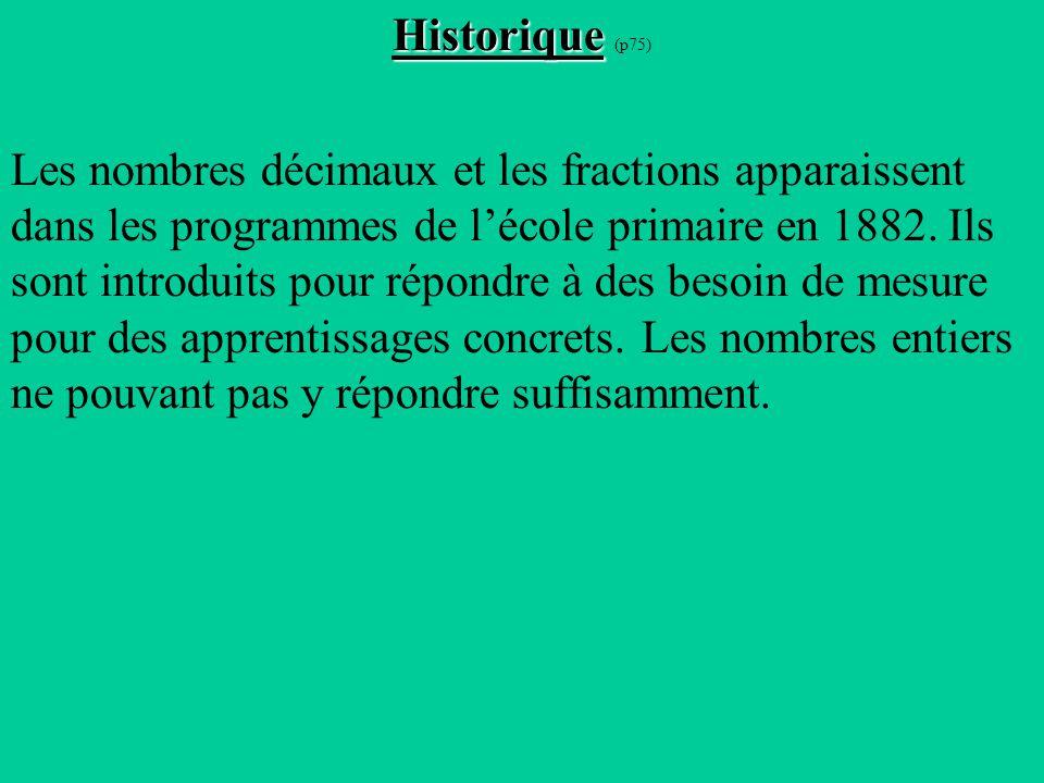 Historique Historique (p75) Les nombres décimaux et les fractions apparaissent dans les programmes de lécole primaire en 1882.