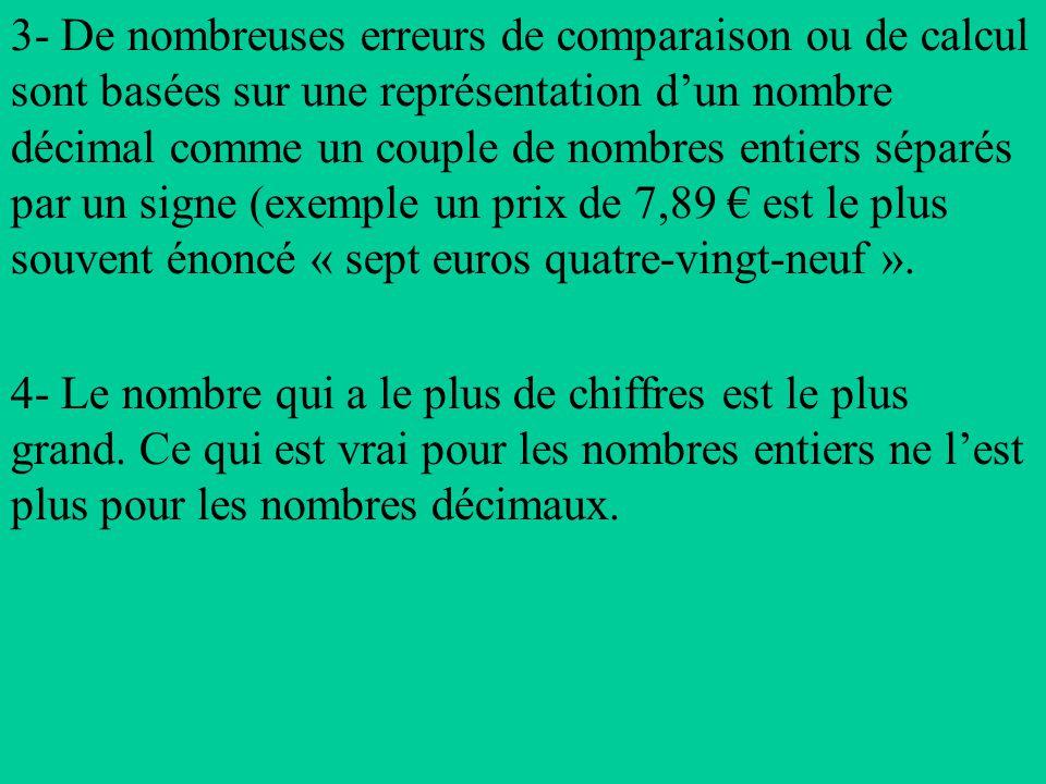 3- De nombreuses erreurs de comparaison ou de calcul sont basées sur une représentation dun nombre décimal comme un couple de nombres entiers séparés par un signe (exemple un prix de 7,89 est le plus souvent énoncé « sept euros quatre-vingt-neuf ».
