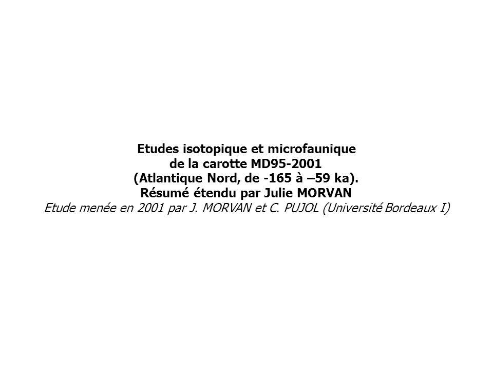 Etudes isotopique et microfaunique de la carotte MD95-2001 (Atlantique Nord, de -165 à –59 ka).
