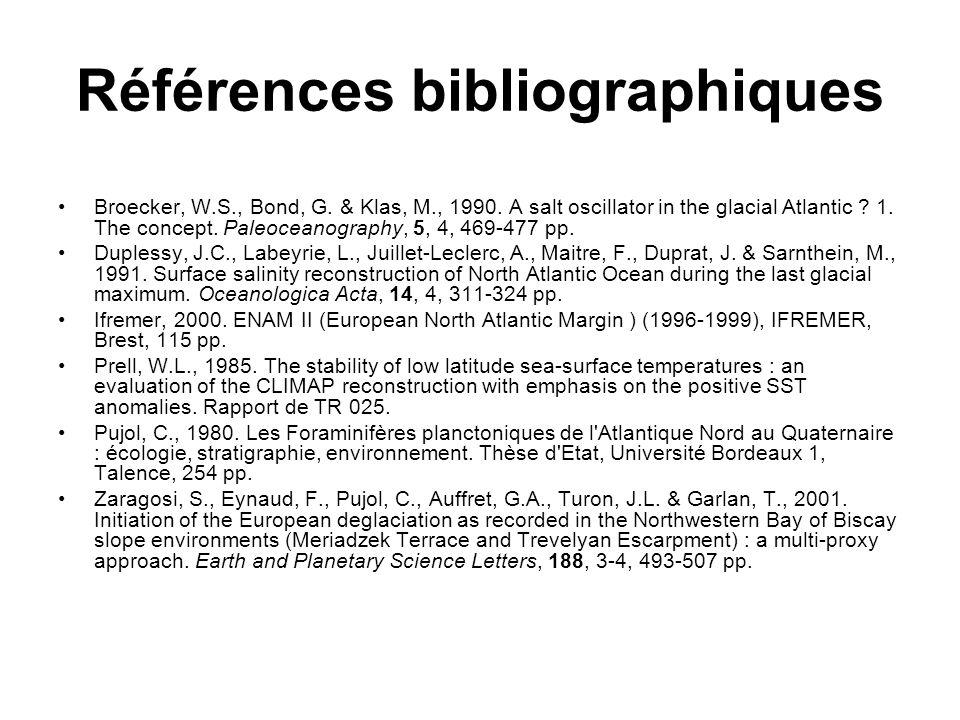 Références bibliographiques Broecker, W.S., Bond, G.