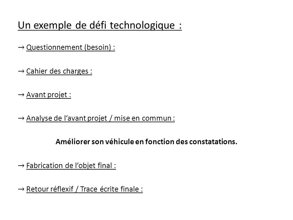 Un exemple de défi technologique : Questionnement (besoin) : Cahier des charges : Avant projet : Analyse de lavant projet / mise en commun : Améliorer