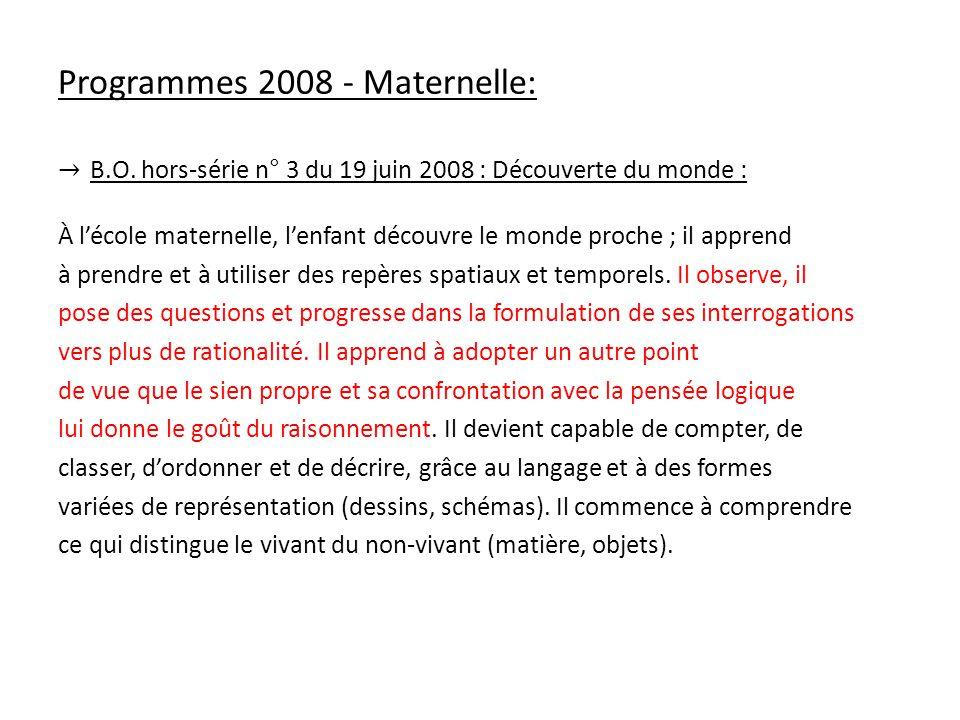 Programmes 2008 - Maternelle: B.O. hors-série n° 3 du 19 juin 2008 : Découverte du monde : À lécole maternelle, lenfant découvre le monde proche ; il