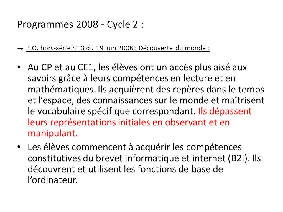Programmes 2008 - Cycle 2 : B.O. hors-série n° 3 du 19 juin 2008 : Découverte du monde : Au CP et au CE1, les élèves ont un accès plus aisé aux savoir