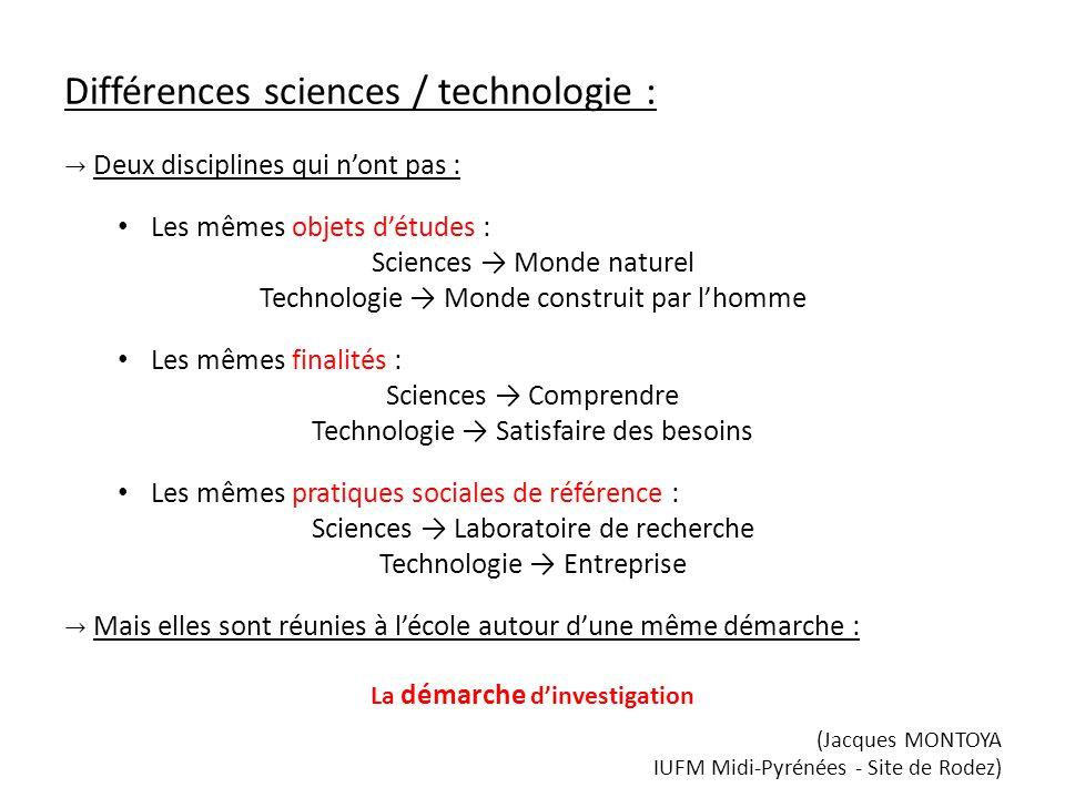 Différences sciences / technologie : Deux disciplines qui nont pas : Les mêmes objets détudes : Sciences Monde naturel Technologie Monde construit par